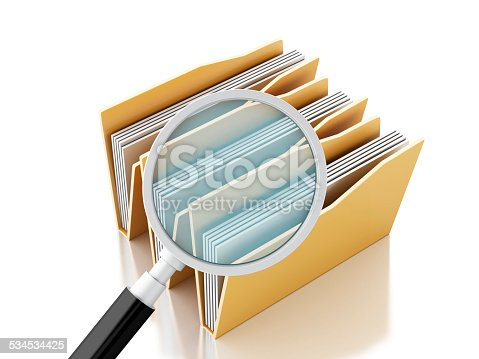 468153365 istock photo 3d magnifying glass and computer files 534534425