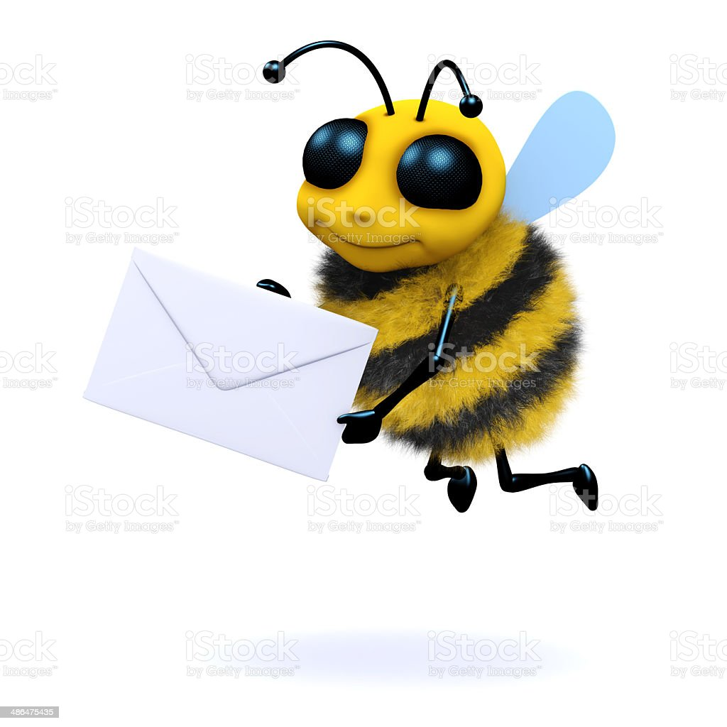 3d Mail bee stock photo