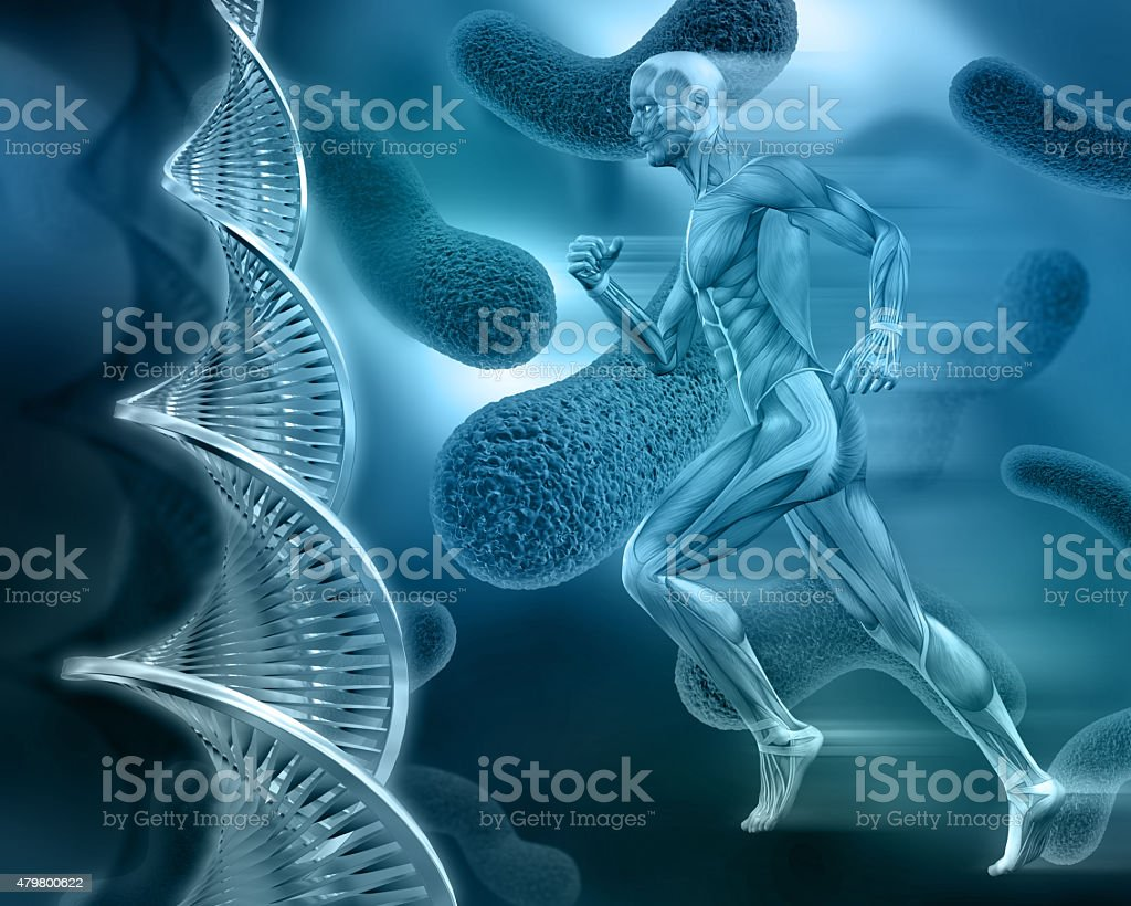 3d male medical figure on abstract DNA virus background stock photo