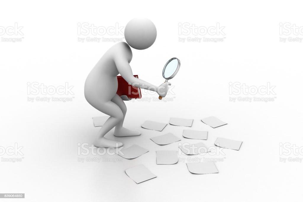 3d man  analysing stock photo