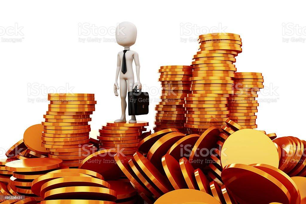 3 d Mann und goldenen Münzen - Lizenzfrei Anzug Stock-Foto