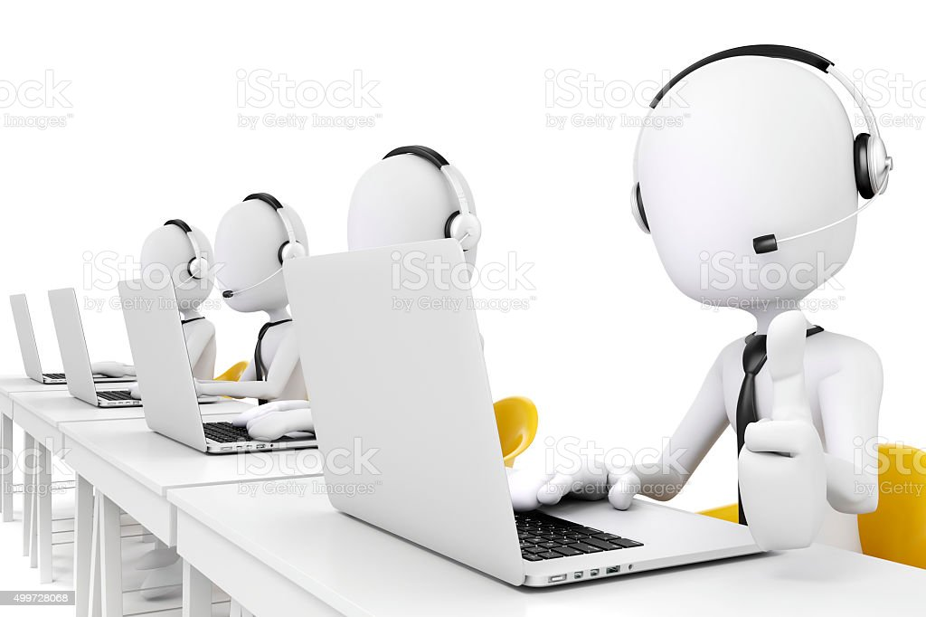 3 D Mann Und Laptop Callcenterbusinesskonzept Stock Fotografie Und