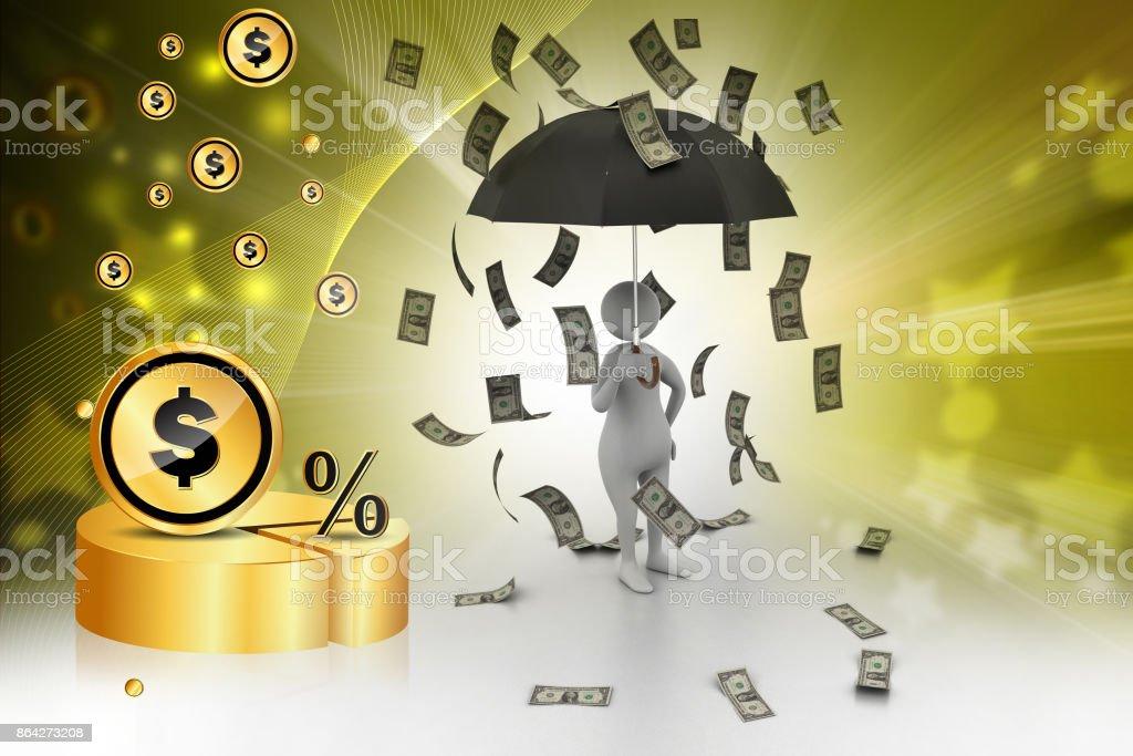 3d man and umbrella in money rain royalty-free stock photo