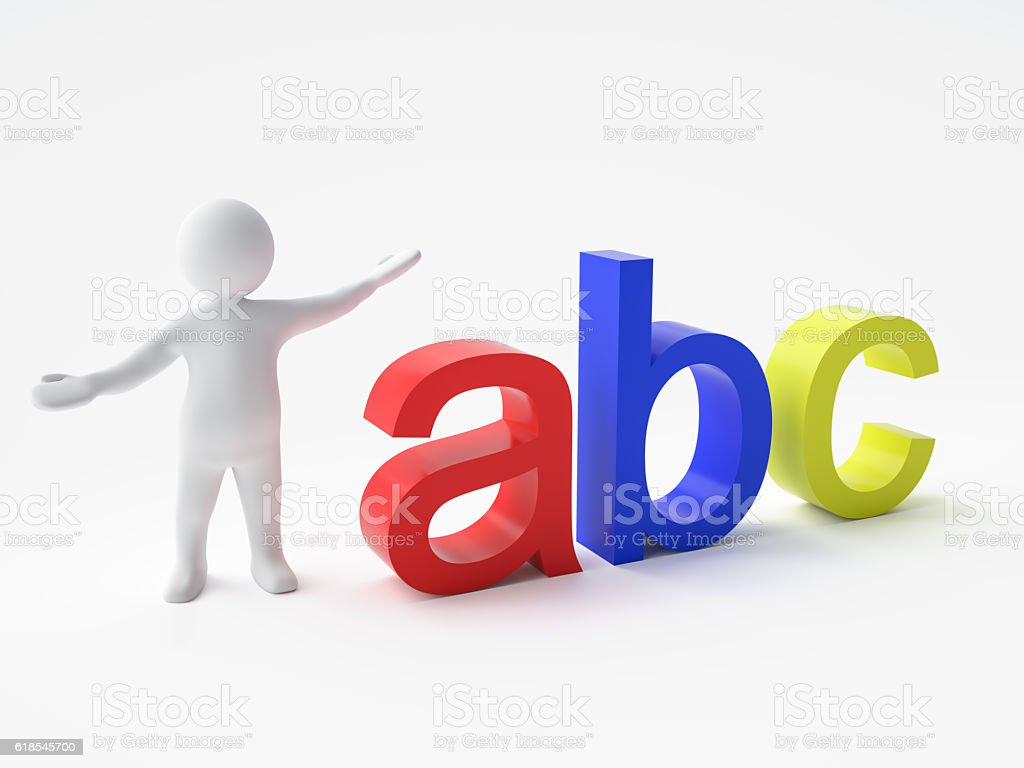 3d Man And Word Abc Stock Photo More Pictures Of Adult Istock