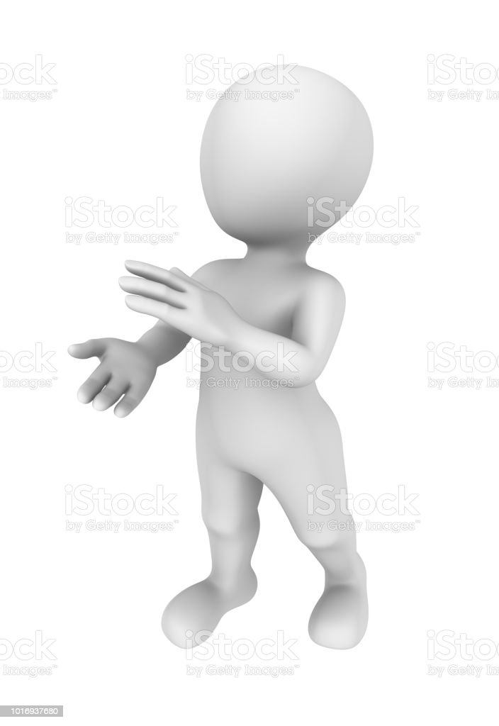 3d man applauds. 3d rendered illustration with small people. stock photo