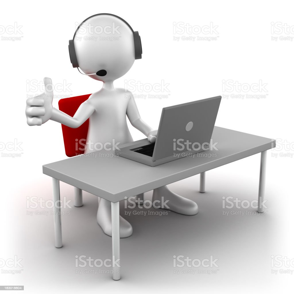 3d Man at support desk, thumbs up, isolated/clipping path royalty-free stock photo