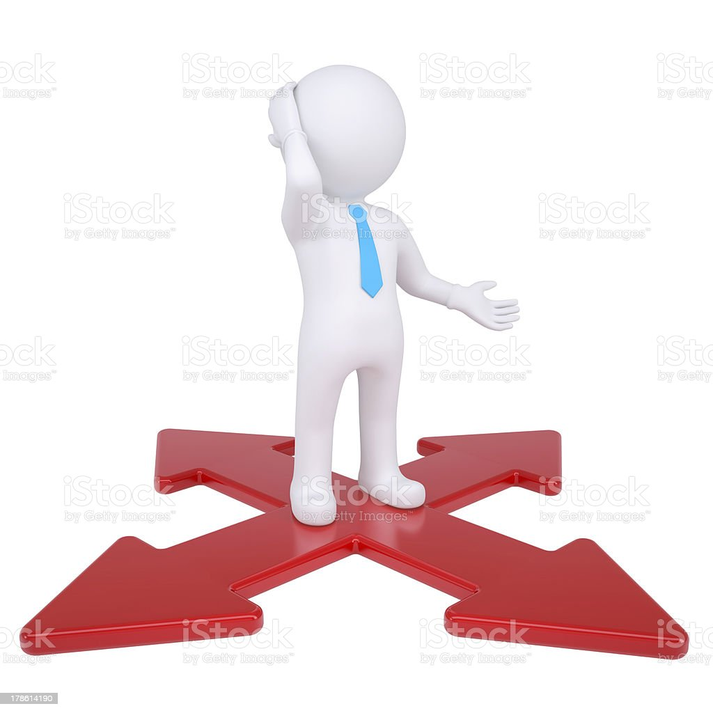 3d man at the crossroads royalty-free stock photo
