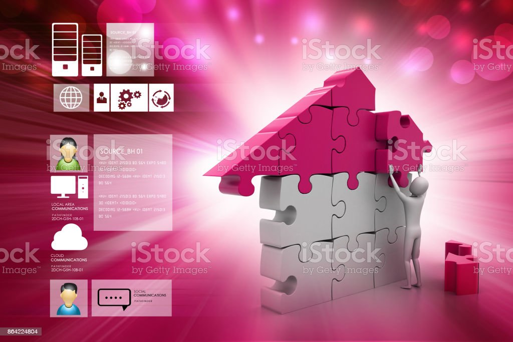 3d man, building the house royalty-free stock photo