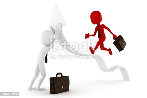 118386322istockphoto 3d man businessman and arrow 186021952
