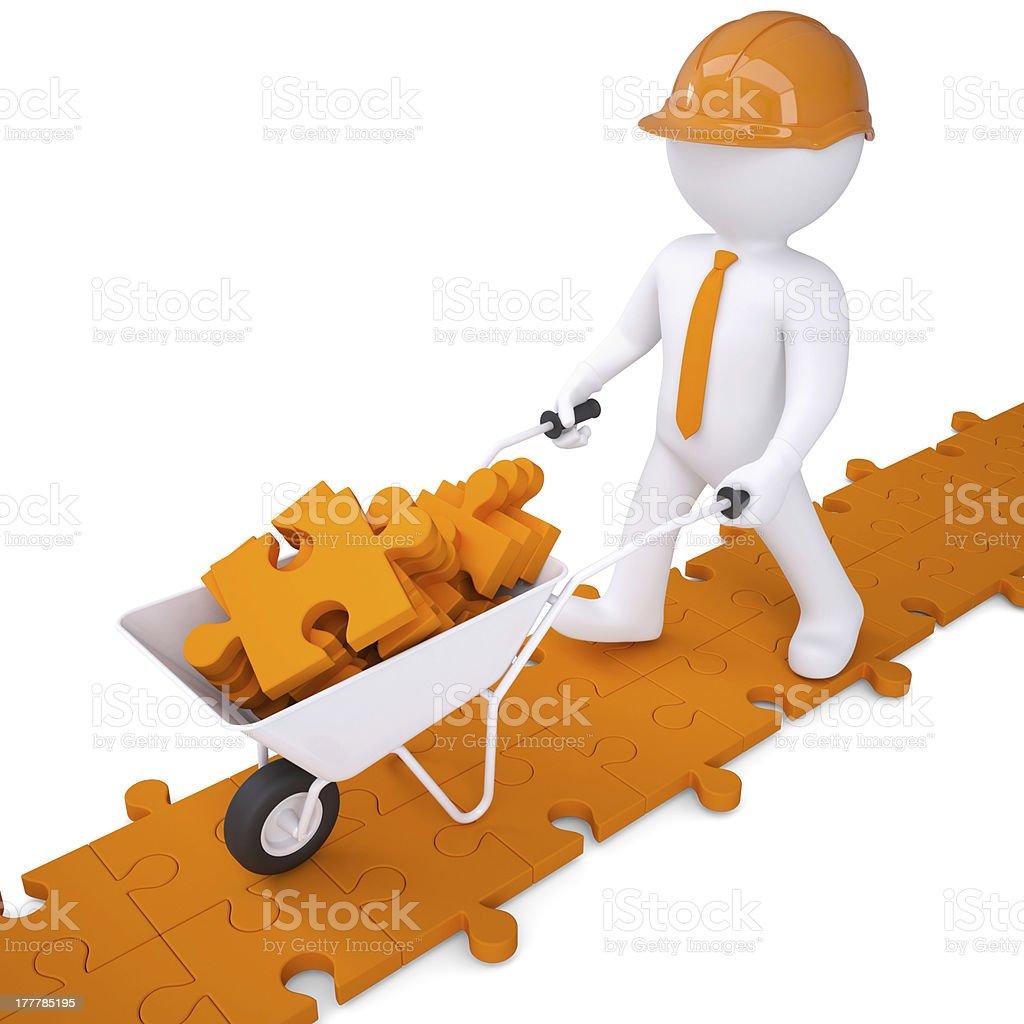 3d man carry in wheelbarrow clay puzzles royalty-free stock photo