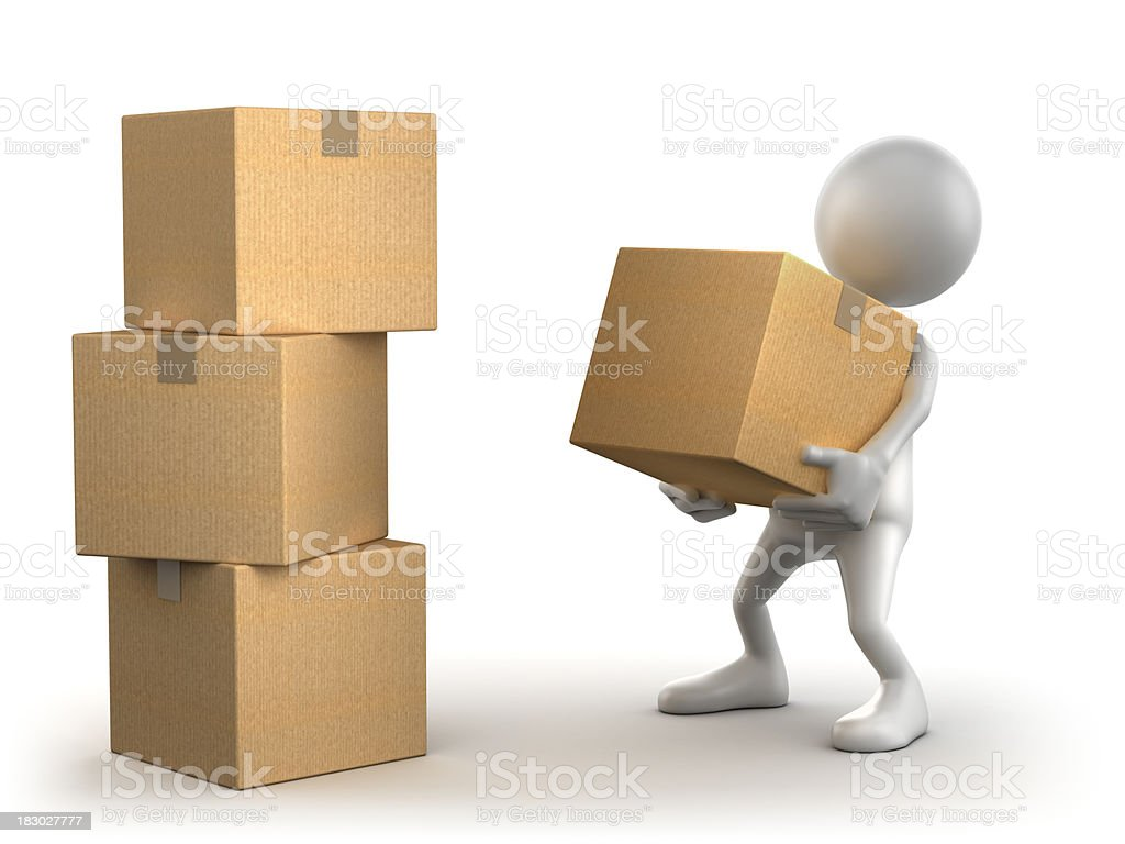 3d Man carrying cardboard box, isolated with clipping path stock photo