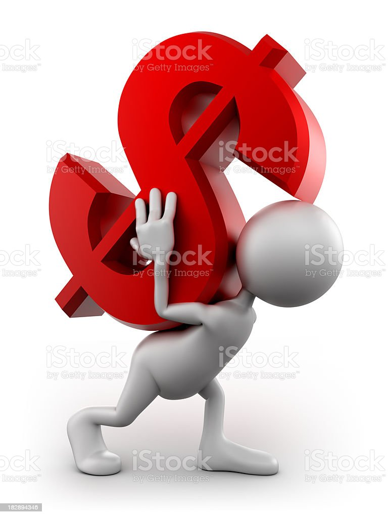 3d Man carrying heavy dollar sign, isolated with clipping path royalty-free stock photo