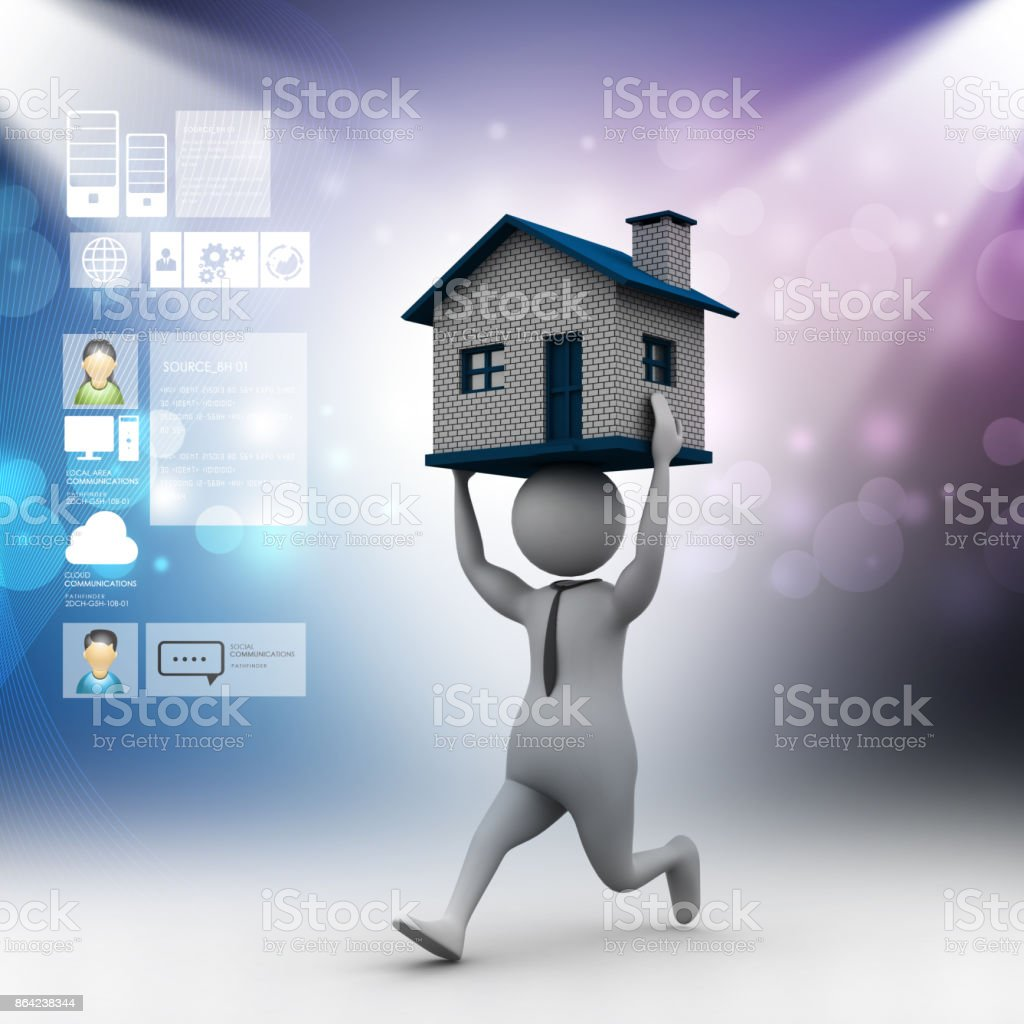 3d man carrying the home royalty-free stock photo
