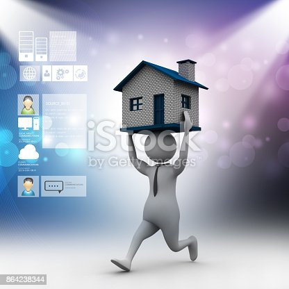 3d Man Carrying The Home Stock Photo & More Pictures of Accessibility