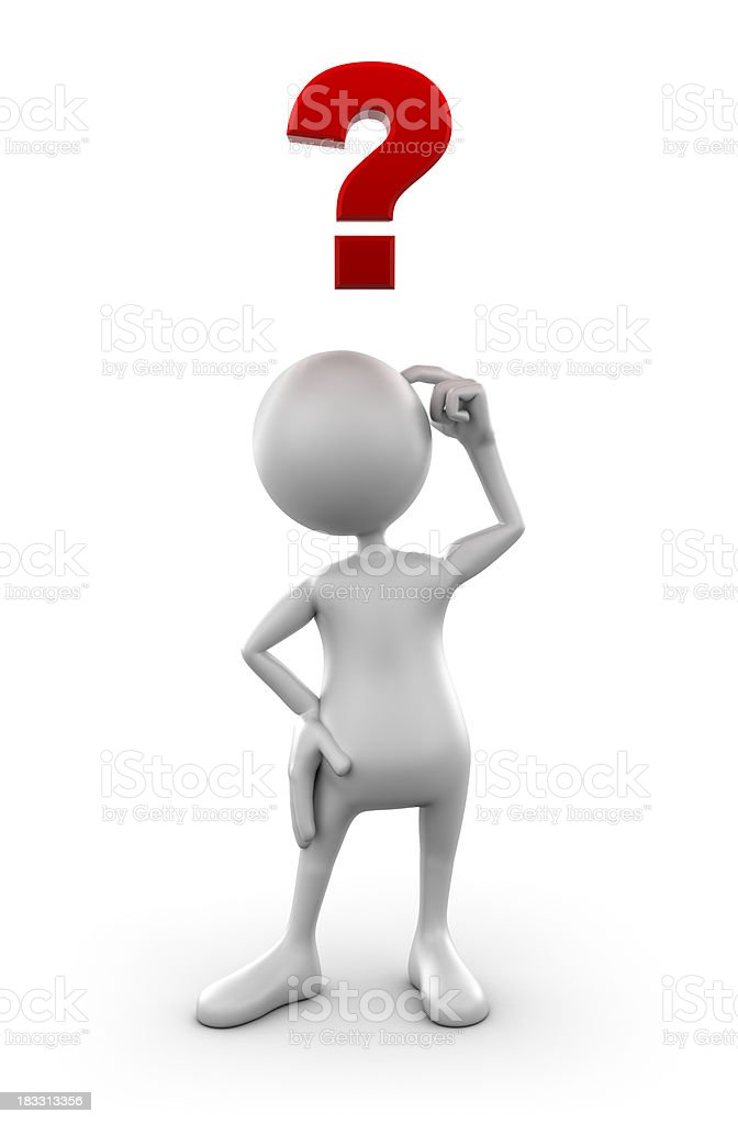 3d Man confused with question mark, isolated w. clipping path stock photo