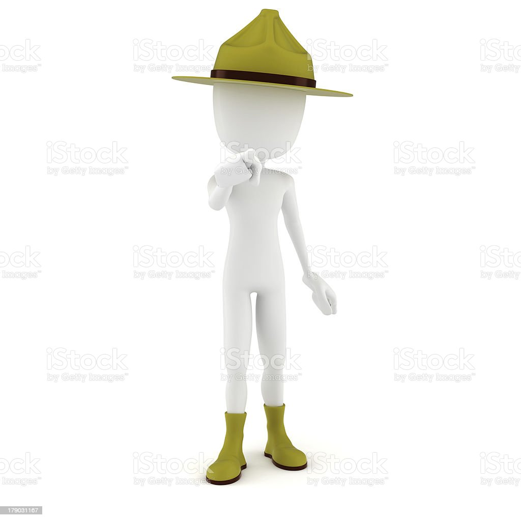 3d man drill sergeant pointing at you ! royalty-free stock photo