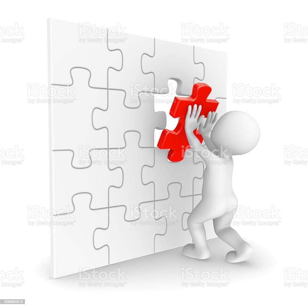3d Man Finishing Jigsaw Puzzle Royalty Free Stock Photo