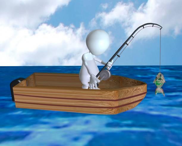 ein 3d mann angeln vom boot und einen fisch fangen - crappie angeln stock-fotos und bilder