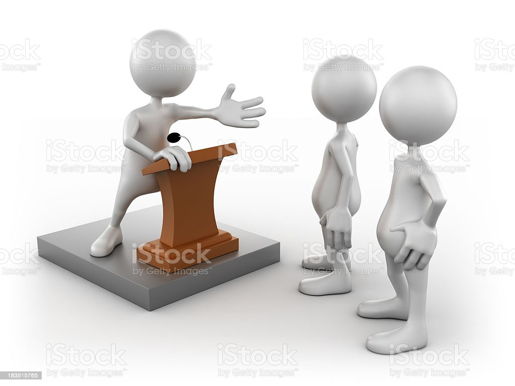 3d Man giving speech to group, isolated/clipping path stock photo