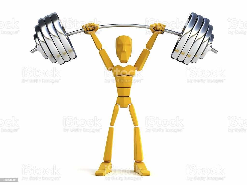 3d man hold heavy weight royalty-free stock photo
