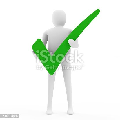 474551486istockphoto 3d Man Holding a Green Check Mark 516194537