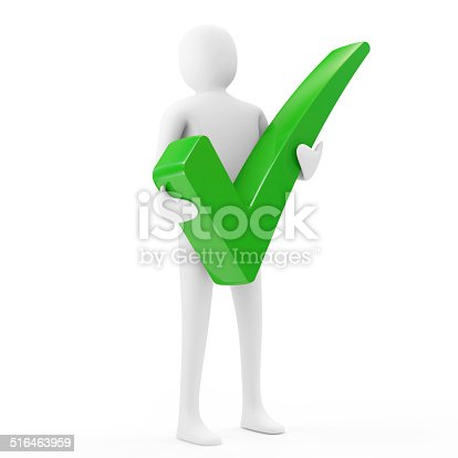 474551486istockphoto 3d Man Holding a Green Check Mark 516463959
