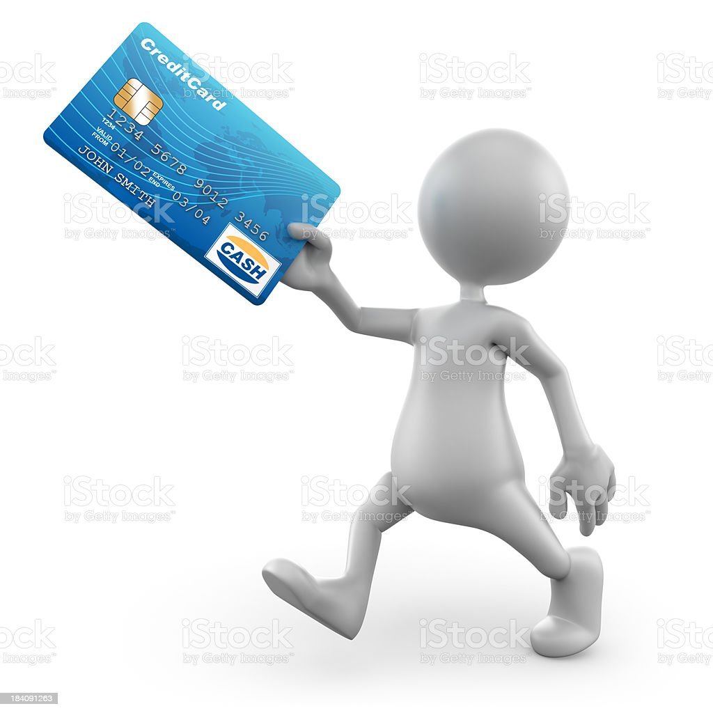 3d Man holding credit card, isolated/clipping path royalty-free stock photo