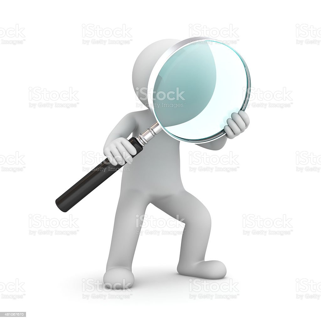 3d man holding magnifying glass stock photo