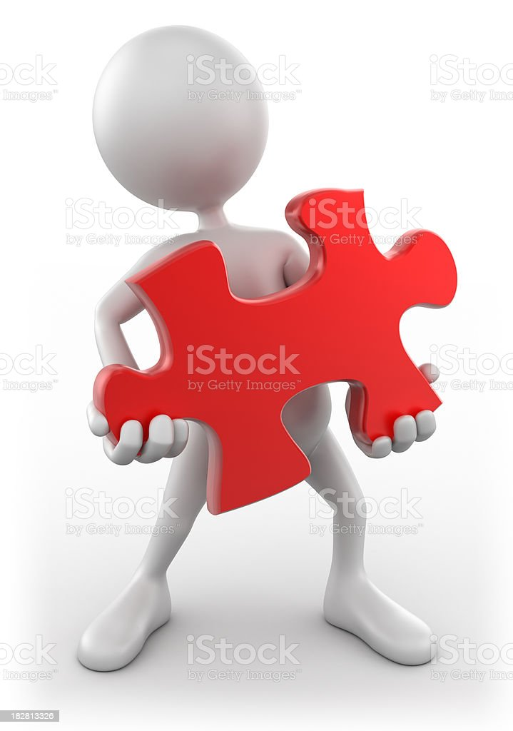 3d Man holding puzzle piece, isolated with multiple clipping paths royalty-free stock photo