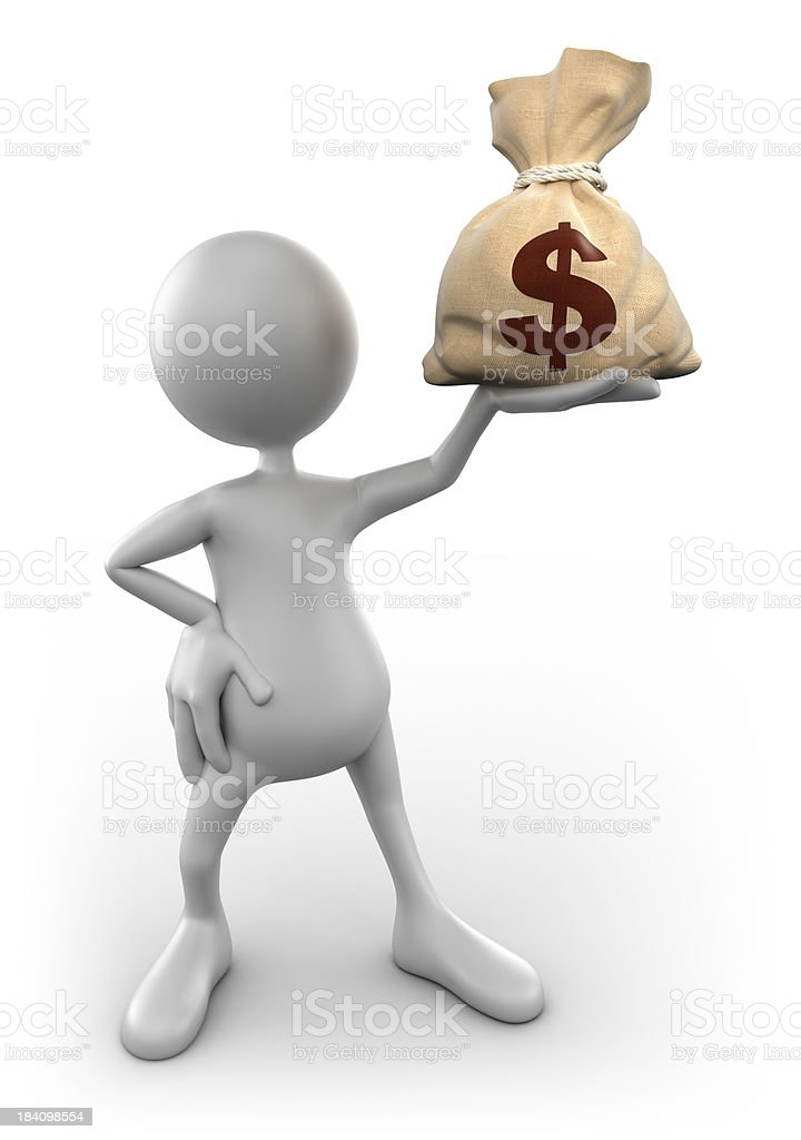 3d Man holding up dollar sign, isolated with clipping path royalty-free stock photo