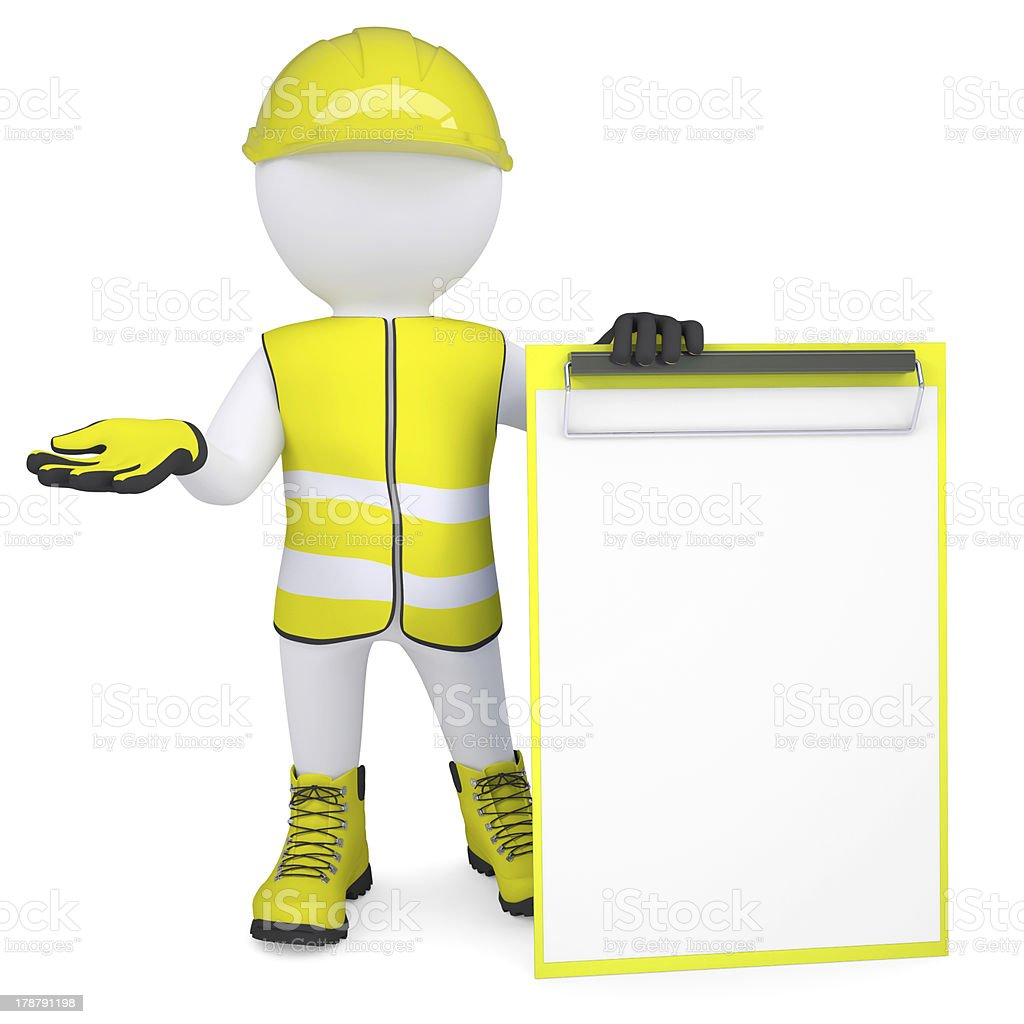 3d man in overalls with a checklist royalty-free stock photo
