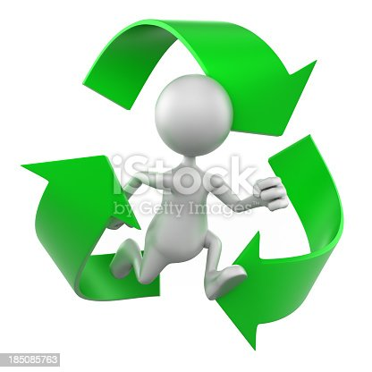 471353682 istock photo 3d man in Recycle symbol - isolated with clipping path 185085763