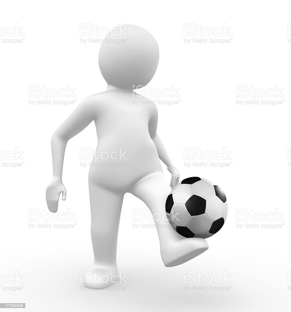 3d man kicking a football royalty-free stock photo