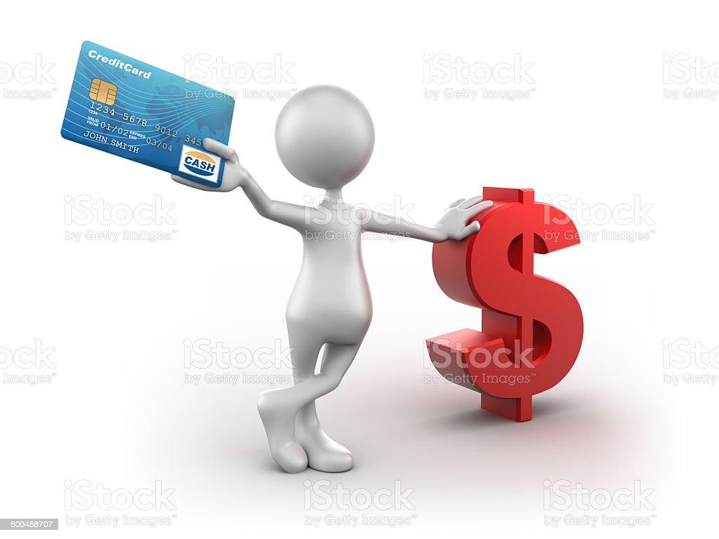 3d Man leaning on dollar holding credit card, isolated/clipping path stock photo