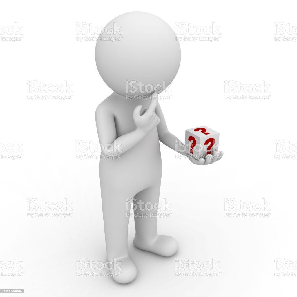 3D hombre busca en la caja de la pregunta en su mano y su pensamiento aislado sobre fondo blanco - foto de stock