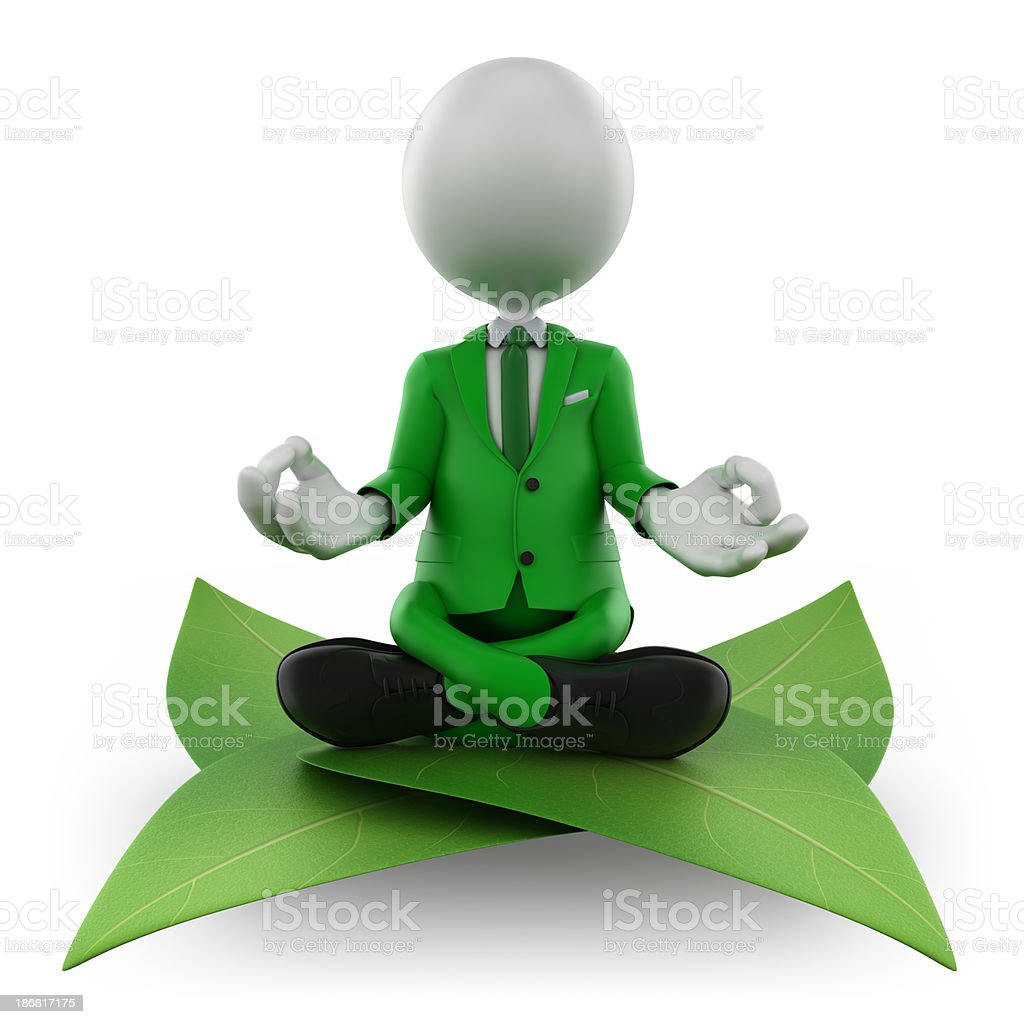 3d man meditating on leaf - isolated with clipping path royalty-free stock photo