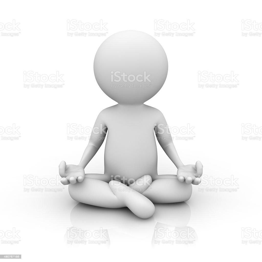 3d man meditating stock photo