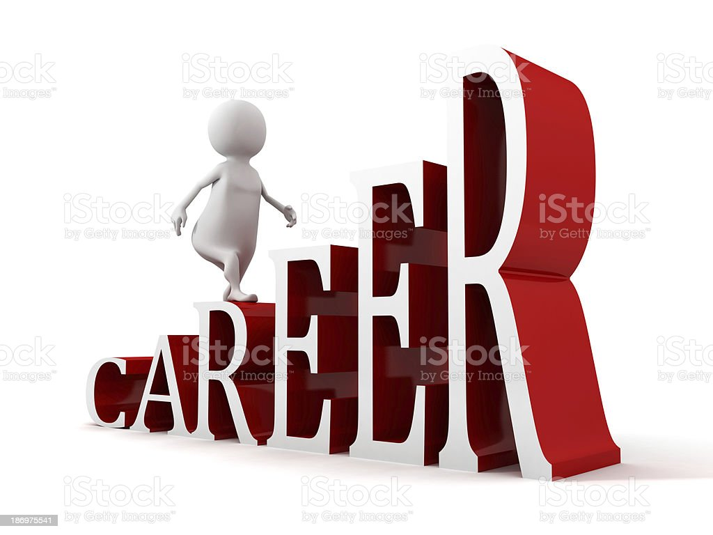 3d man moving up on success ladder of career text royalty free stock photo