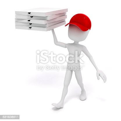 istock 3d man, pizza delivery 531638511