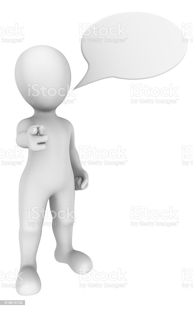 3d man pointing a finger at you with chat bubble. stock photo