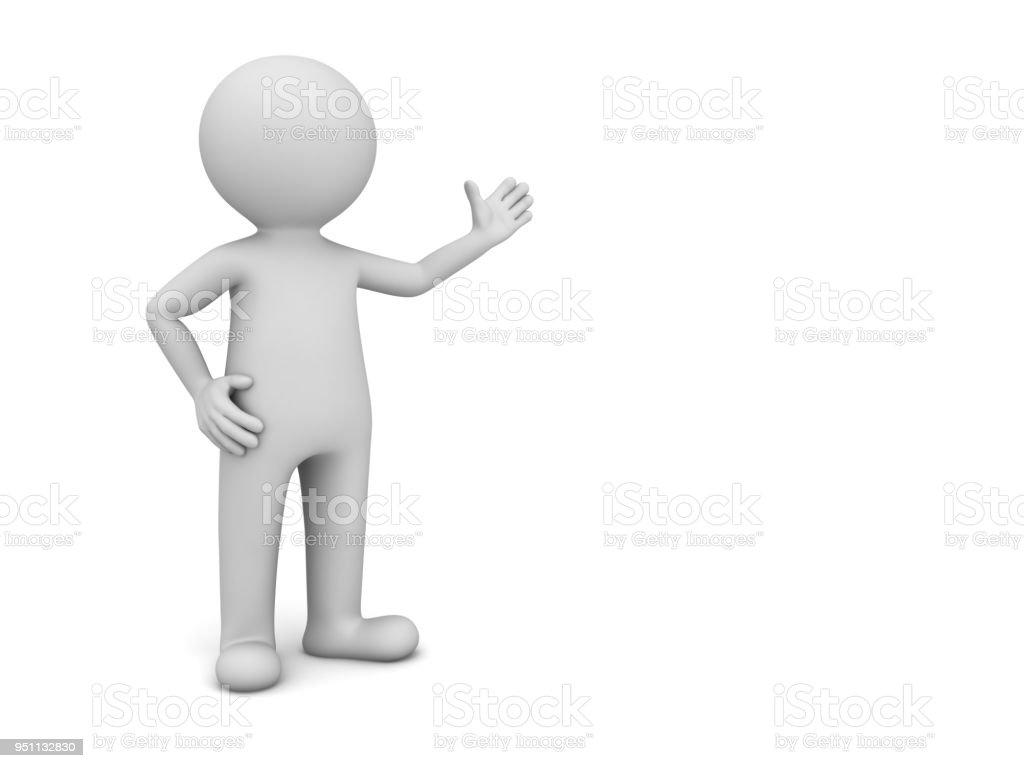 3D-man die presenteert uw product op witte achtergrond foto