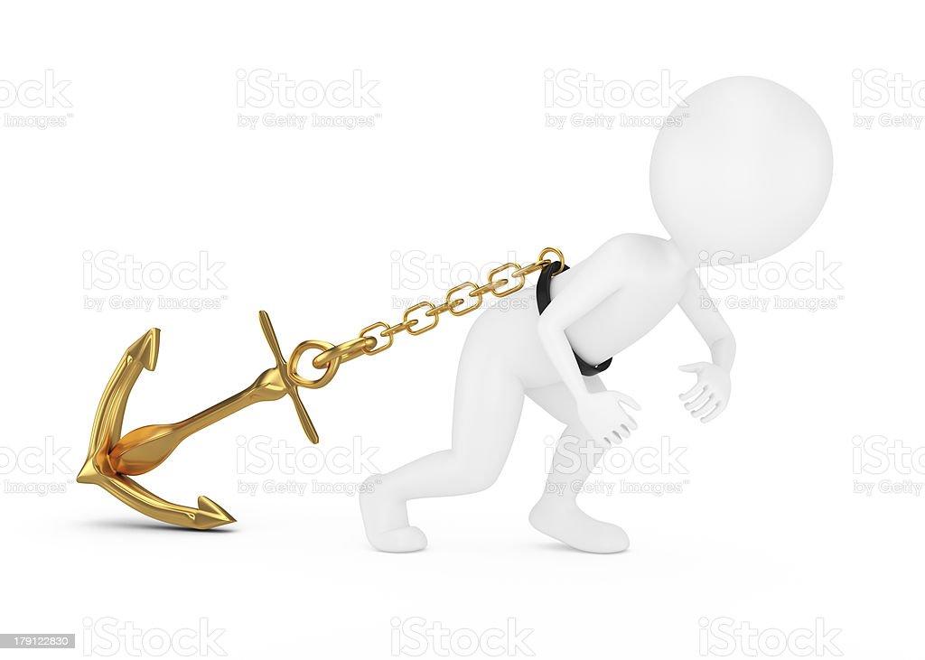 3d man pulls anchor stock photo