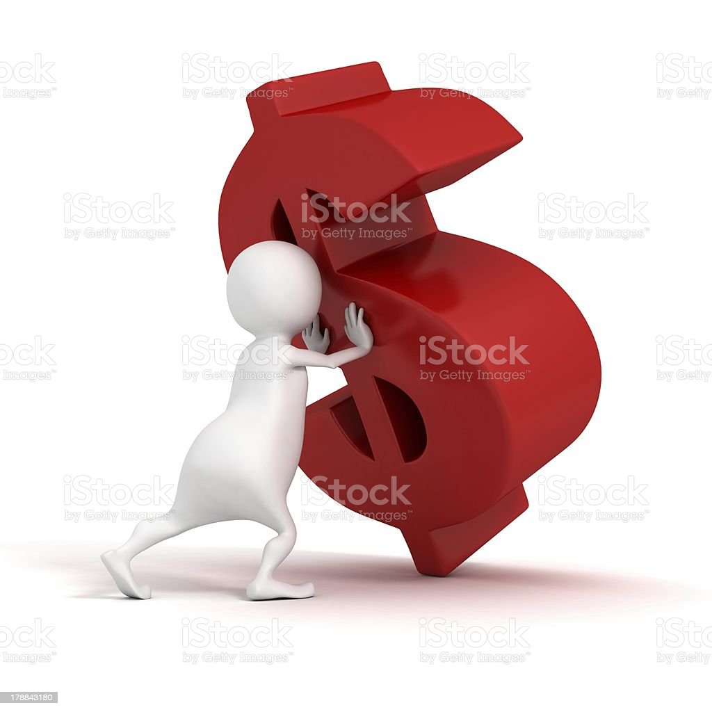 3d man pushes to rise up red dollar symbol royalty-free stock photo