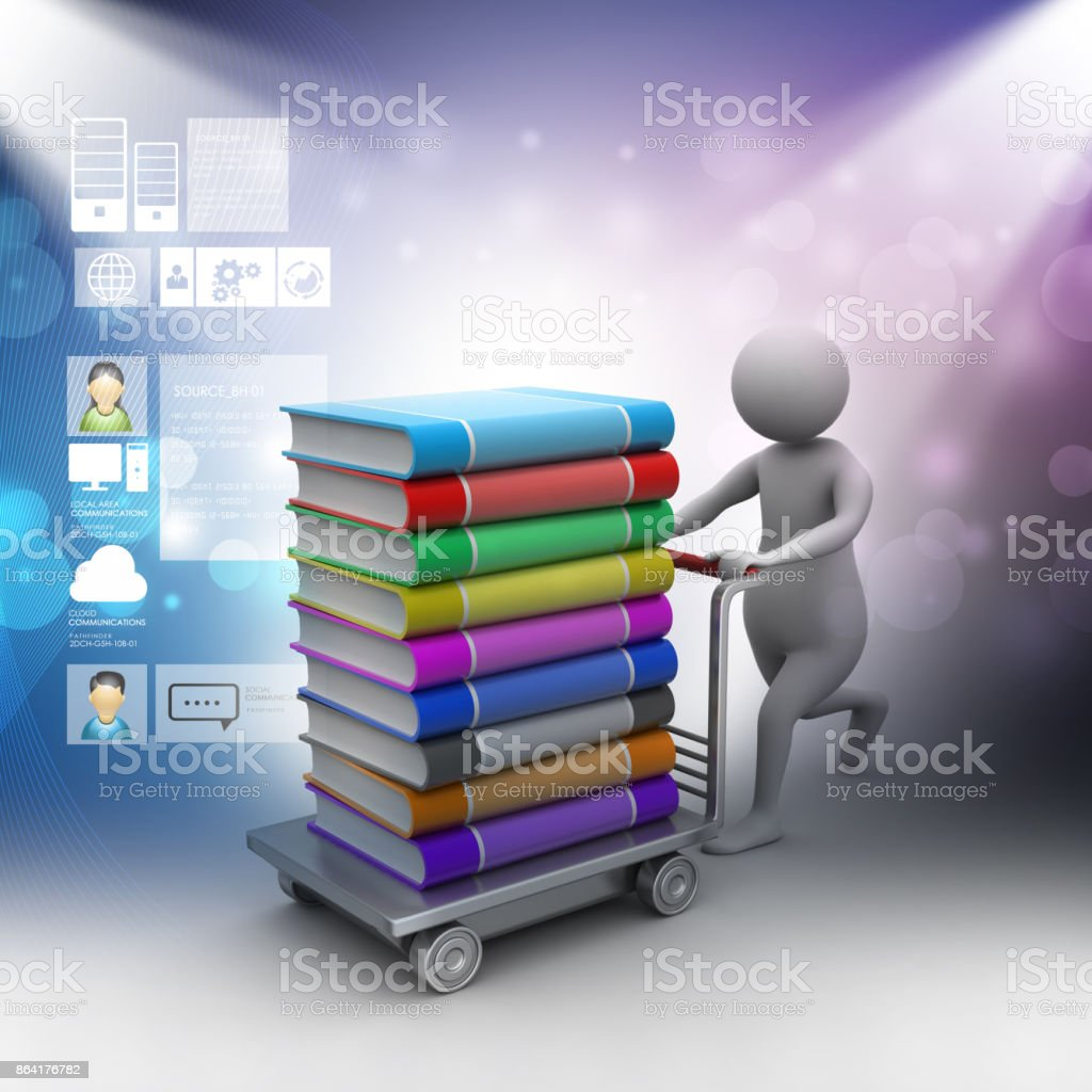 3d man pushing hand truck with books royalty-free stock photo