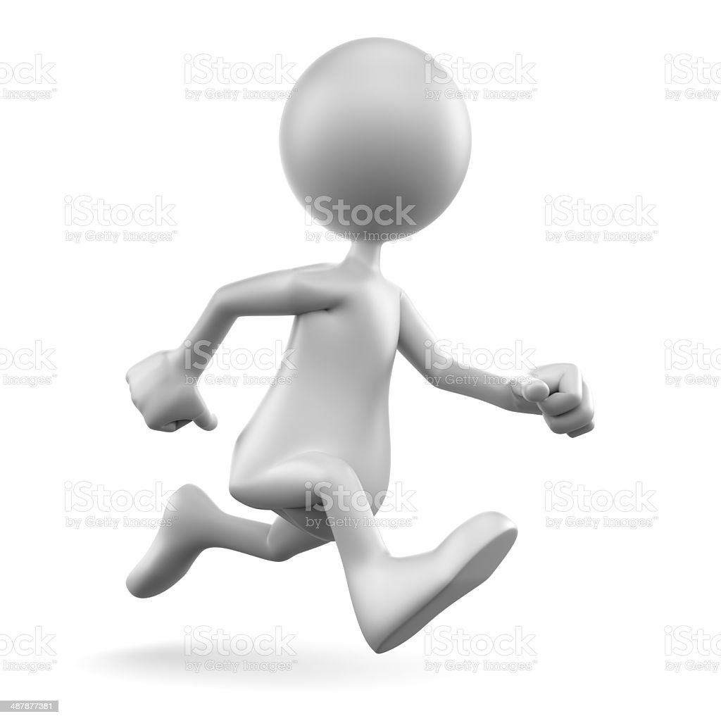 3d man running, isolated on white royalty-free stock photo