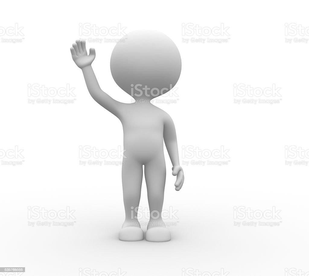 3d man salute stock photo