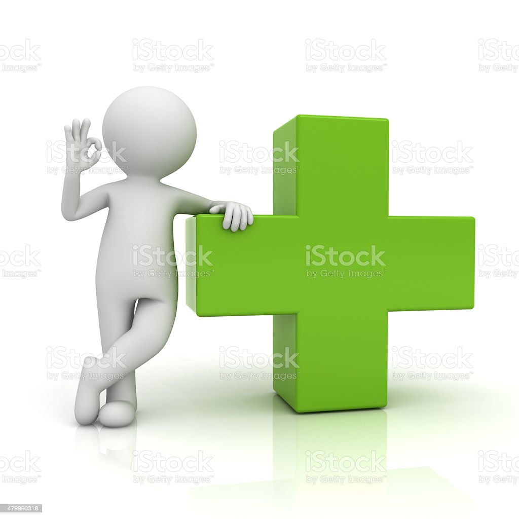 3d man showing okay gesture with green plus symbol stock photo