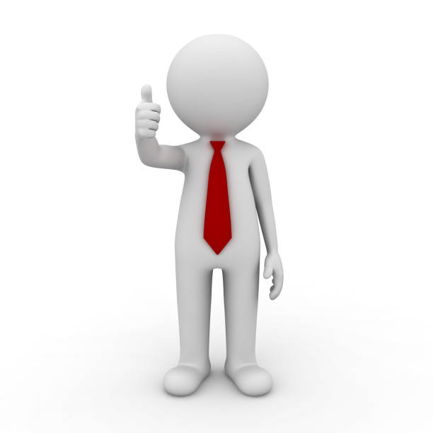 3d man showing thumbs up isolated on white background stock photo