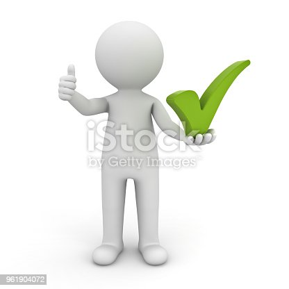 474551486istockphoto 3d man showing thumbs up with green check mark on his hand isolated over white background 3D rendering 961904072