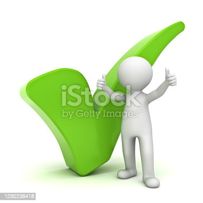 474551486 istock photo 3d man showing thumbs up with green check mark over white background 1250236418